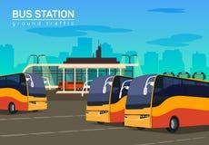 Στάση λεωφορείου, διανυσματική επίπεδη απεικόνιση υποβάθρου Στοκ εικόνες με δικαίωμα ελεύθερης χρήσης