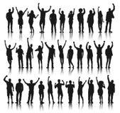 Στάση και εορτασμός ομάδας ανθρώπων σκιαγραφιών Διανυσματική απεικόνιση