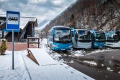 Στάση λεωφορείου κοντά στο δάσος βουνών στο χειμώνα στοκ φωτογραφία