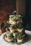 Στάση μετάλλων με τα cupcakes Στοκ Εικόνα
