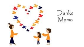 Στάση μητέρων και παιδιών εκτός από μια καρδιά από τις πεταλούδες διανυσματική απεικόνιση