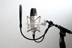 Στάση μικροφώνων στο υπόβαθρο τοίχων Καταγραφή φωνής Στον αέρα Στοκ Φωτογραφίες