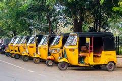 Στάση ταξί δίτροχων χειραμαξών σε Pondicherry, Ινδία στοκ φωτογραφία με δικαίωμα ελεύθερης χρήσης
