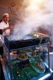 Στάση τροφίμων Brochette στο Μαρακές Στοκ Φωτογραφίες