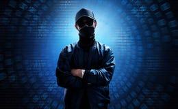 Στάση χάκερ πέρα από το δυαδικό κώδικα Στοκ Εικόνες