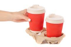 Στάση χαρτονιού για τον καφέ υπό εξέταση Στοκ Εικόνες