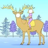 Στάση Tantamaresk για τη φωτογραφία με μια τρύπα για το πρόσωπο Θέμα Χριστουγέννων Κορίτσι, παιδί που οδηγά ένα ελάφι, φύση, δάσο στοκ εικόνες