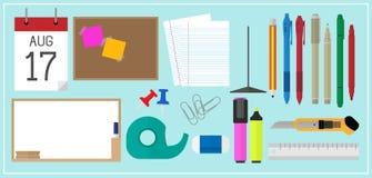 Στάσιμος εξοπλισμός σχολικών εργαλείων γραφείων ελεύθερη απεικόνιση δικαιώματος