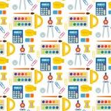 Στάσιμο εκπαιδευτικό βοηθητικό άνευ ραφής διάνυσμα σημειωματάριων σπουδαστών υποβάθρου σχεδίων παιδιών σχολικών προμηθειών διανυσματική απεικόνιση