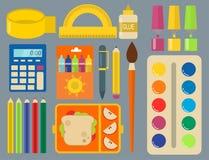 Στάσιμο εκπαιδευτικό βοηθητικό σημειωματάριο σπουδαστών παιδιών σχολικών προμηθειών διανυσματική απεικόνιση