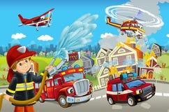 Στάδιο κινούμενων σχεδίων με τις διαφορετικές μηχανές για την πυροσβεστική ζωηρόχρωμη και εύθυμη σκηνή ελεύθερη απεικόνιση δικαιώματος