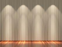 Στάδιο με τις ανοικτό καφέ κουρτίνες και το επίκεντρο Στοκ Φωτογραφία