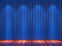 Στάδιο με τις μπλε κουρτίνες και το επίκεντρο Στοκ Φωτογραφίες