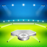Στάδιο ποδοσφαίρου με τη στάση νικητών διανυσματική απεικόνιση