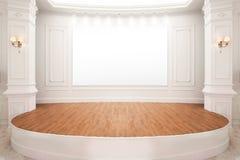 Στάδιο της αίθουσας συνεδριάσεων με το ξύλινο πάτωμα και το λευκό πίνακα Στοκ Εικόνες