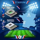 Στάδιο infographic Άγιος Denis Stade de France και Μπορντώ της Γαλλίας διανυσματική απεικόνιση