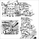 Στέγες Αστική σκιαγράφηση Στοκ Εικόνα
