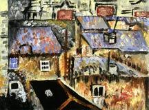 Στέγες, αφηρημένη ζωγραφική ελεύθερη απεικόνιση δικαιώματος