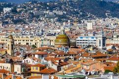 Στέγες και θόλος του κεντρικού ιστορικού μέρους της Νίκαιας, Γαλλία Στοκ Φωτογραφία