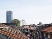 Στέγες κατά μήκος των backlanes, Τζωρτζτάουν, Penang, Μαλαισία Στοκ Εικόνες