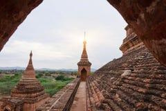 Στέγες των παγοδών Bagan στο ηλιοβασίλεμα στο Μιανμάρ Στοκ φωτογραφία με δικαίωμα ελεύθερης χρήσης