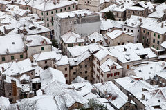 στέγες χιονώδεις Στοκ Φωτογραφία
