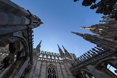 Στέγη καθεδρικών ναών του Μιλάνου Στοκ Εικόνα