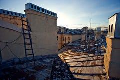 Στέγη της πόλης του βραδιού Ρωσία Αγίου Πετρούπολη Στοκ Εικόνες