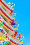 Στέγη του κινεζικού ναού με τον όμορφο ουρανό Στοκ εικόνα με δικαίωμα ελεύθερης χρήσης