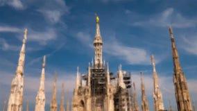 Στέγη του Μιλάνου Duomo, ζωντανεψοντη απεικόνιση απόθεμα βίντεο