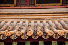 Στέγη του ναού Jinshan σε Zhenjiang, την επαρχία Jiangsu και τα βερνικωμένα κεραμίδια Στοκ φωτογραφίες με δικαίωμα ελεύθερης χρήσης