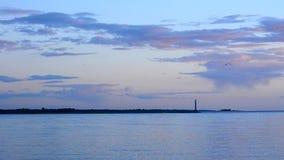 Στέρνα που πετά στο ηλιοβασίλεμα στο υπόβαθρο των ζωηρόχρωμων σύννεφων και του νερού φιλμ μικρού μήκους