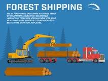 Στέλνοντας ξυλεία Φόρτωση των καταρριφθε'ντων δέντρων στο γερανό ξυλείας Στοκ Φωτογραφίες