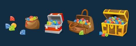Στήθη πολύτιμων λίθων που τίθενται στο μπλε υπόβαθρο Στήθη χρημάτων κινούμενων σχεδίων για τα παιχνίδια, τα βιβλία κ.λπ. απεικόνιση αποθεμάτων