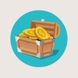 Στήθος θησαυρών με το χρυσό επίπεδο εικονίδιο νομισμάτων Στοκ Εικόνα