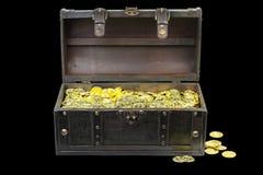 Στήθος θησαυρών που γεμίζουν με τα χρυσά νομίσματα στοκ φωτογραφία