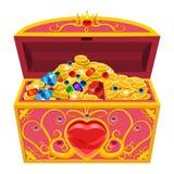 Στήθος θησαυρών πριγκηπισσών, που διακοσμείται με τα διαμάντια και το χρυσό Κοσμήματα, νομίσματα, πολύτιμοι λίθοι Διάνυσμα, απεικ απεικόνιση αποθεμάτων