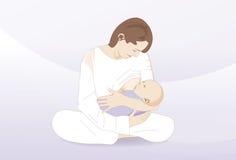 Στήθος - που ταΐζει έναν νέο - γεννημένο παιδί Στοκ Εικόνα
