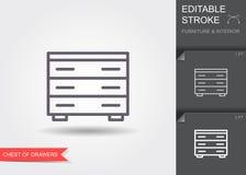 Στήθος των συρταριών Εικονίδιο γραμμών με το editable κτύπημα με τη σκιά απεικόνιση αποθεμάτων