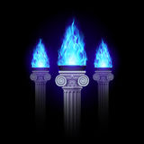 Στήλες με την μπλε πυρκαγιά Στοκ φωτογραφία με δικαίωμα ελεύθερης χρήσης