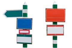 Στήλες των διάφορων κενών σημαδιών που απομονώνονται σε ένα άσπρο υπόβαθρο Στοκ φωτογραφία με δικαίωμα ελεύθερης χρήσης