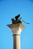 Στήλη με το φτερωτό λιοντάρι, Βενετία, Ιταλία Στοκ Φωτογραφίες