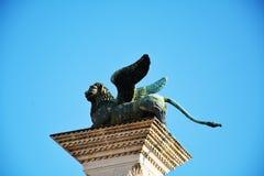 Στήλη με το φτερωτό λιοντάρι, Βενετία Στοκ Εικόνα