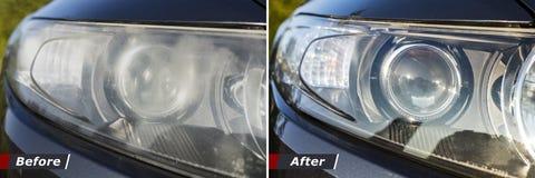 Στίλβωση της οπτικής των προβολέων αυτοκινήτων στοκ φωτογραφία