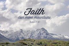 Στίχος Βίβλων βουνών του Matthew 17:20 Στοκ φωτογραφία με δικαίωμα ελεύθερης χρήσης