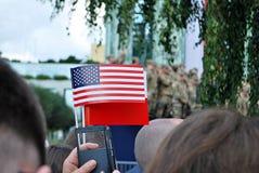 Στίλβωση και αμερικανικές σημαίες Στοκ εικόνα με δικαίωμα ελεύθερης χρήσης