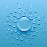 Σταγονίδια νερού στο μπλε υπόβαθρο διανυσματική απεικόνιση