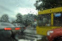 σταγόνες βροχής γυαλιού Στοκ εικόνα με δικαίωμα ελεύθερης χρήσης