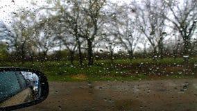 Σταγόνες βροχής σε ένα παράθυρο αυτοκινήτων στοκ εικόνα με δικαίωμα ελεύθερης χρήσης