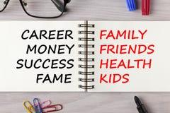Σταδιοδρομία ή οικογενειακή έννοια στοκ εικόνες